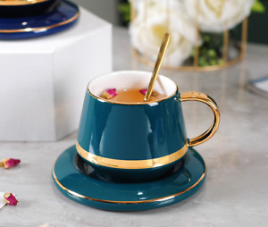 Creative Drawing gold Porcelain Tea Cup and Saucer Coffee Cup Set With Spoon New