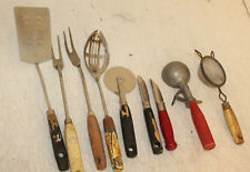Lot of 9 Primitive Antique Wood Handle Kitchen Utensils Farm Country House Decor