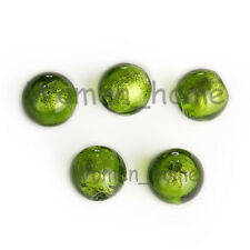 10Pcs New Green Glass Crystal Silver Foil Inside Lampwork Round Loose Beads10mm