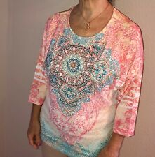 NEW-Bright!Colorful! Pink and Blue Scoop Neck Tunic Top With Rhinestones Size XS