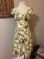 Banana Republic Short Sleeve A Line SILK Dress Green Cream Black 14