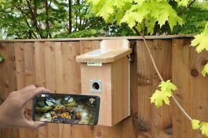 IP Wired Camera Bird Box | Smartphone Garden Hanging Birds Nest Wooden Flat Roof