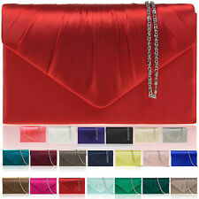 New Women Satin Designer Clutch Bag Bridal Brides Party Ladies Evening Bag UK