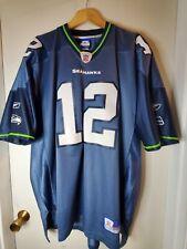 New listing Vintage Seattle Seahawks 12th Man Fan Football NFL Jersey Size XL Tall Blue