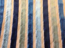 Robert Allen Cut Velvet Stripe Upholstery Fabric- Stylish Stitch/Peacock 1.50 yd