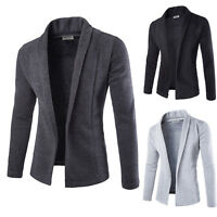 Mens Open Shawl Knitted Cardigan Solid Long Sleeve Slim Fit Sweater Jacket Coat