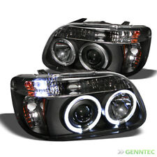 For 1995-2001 Ford Explorer Twin Halo LED Projector Headlights Blk Head Lights