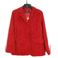 Dennis Basso Womens Coat Red Suede Leather Button Down Collared Jacket Size M