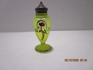 vintage Vaseline Glass Shaker  handpainted Parrot Pewter Lid Footed