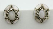 Sterling Silver .925 Vintage Oval Mother of Pearl Marcasite Stud Earrings J316