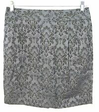 Ann Taylor Skirt Sz 8 Gray Sheen Brocade Above Knee Straight Pencil Womens