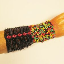 Set of 2 Black Rasta Colors Multi Strand Handmade Stretch Seed Bead Bracelets