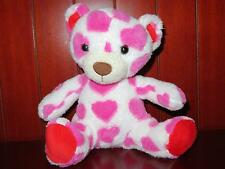 """7"""" SWEET SPROUTS ANIMAL ADVENTURE Teddy Bear Stuffed Plush 2014 Hearts Pink Red"""
