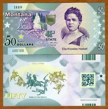 USA States, Montana, $50, Polymer, ND (2019), UNC > Ella Knowles Haskell