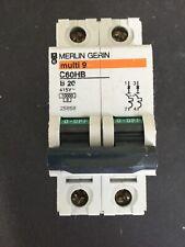 Merlin Gerin 25858 Multi 9 C60HB B20 20A Double Pole MCB