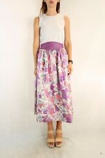 Vintage Floral 1960s Purple Skirt with Lace Trim Lining Size S-M