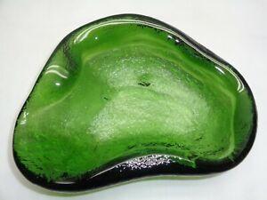Vtg Heavy Green Art Glass Kidney Shape Dish Sculpture Blenko Style Table Decor