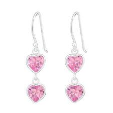 925 Sterling Silver Pink Cubic Zirconia Double Heart Drop/Dangle Earrings