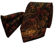 Bronze Tie NEW Paisley Grey Black Silk & FREE Matching Hanky Set pr14