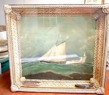 Rare 1880's Maritime Folk Art Ship's Diorama With Sailor's Macrame Frame