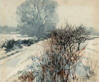 JANET SIMPSON Watercolour Painting - SNOWY WINTER LANDSCAPE - 20TH CENTURY