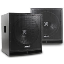 "Pair Active Subwoofers Club Sub Woofers Bass Bins|Vonyx SWP-15"" 1600W SSC2676"