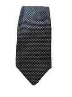 Crombie Mens 100% Silk tie navy blue, silver and black  geometric bock pattern.