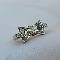 Art Deco Diamond Bow Ring 18k Gold 1920 1930 Rose Cut Engagement Vintage Antique