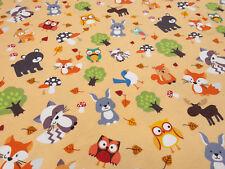 Stoff Baumwolle Jersey Eulen Füchse Bären Pilze Vögel apriko bunt Kinderstoff