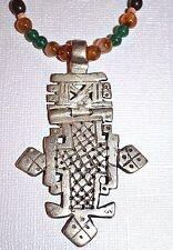 Ethiopian Christian Hinged Metal Cross Necklace Stone Seed & Wood Beads Ethiopia
