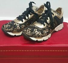 RENE CAOVILLA Black & Gold Floral Leather Cutout & Lace Fabric Sneakers Trainers