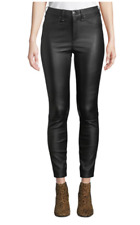 NWT $995 Veronica Beard Kate Skinny Black Leather Pants 24