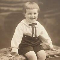 Antique Tri-fold Photograph Cabinet Card Adorable Little Boy Cute Bangs Hair NJ