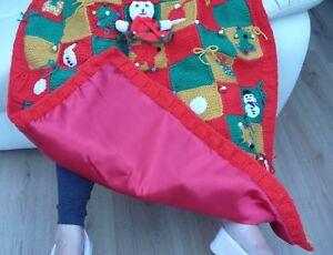 Christmas Handmade Blanket Knitted Bells Bows Tree Snowman Present Hat Star