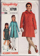 6708 SIMPLICITY Designer c.1966 - DRESS & COAT - GIRLS Sz 6