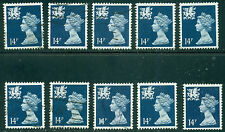 Great Britain Wales Sg-W40, Scott # Wmmh-24, Used, 10 Stamps, Great Price