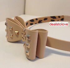 NWT Rare Betsey Johnson Beige stretch Bow Waist Rocker Belt with Studs Med Large