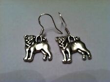 Pug Dog Earrings silver, .925 Sterling Silver Wires, animal lover pet show