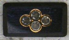 Antique Vintage Black JET Gold Inlaid Rhinestone Mini Stone 6 pieces/set  #K50