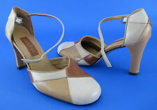 George Shelley Shoes Heels Pumps Diamonds Tan Cream Brown Ankle Strap Size 6.5 M