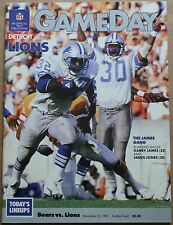 1987 Detroit Lions at Chicago Bears Program Soldier Field VF Garry James Payton
