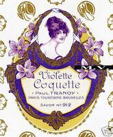 French Vintage Soap Box Label: Perfume ephemera - Paul Tranoy, Violette Coquette