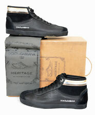 NEW DOLCE & GABBANA HERITAGE BLACK CALFSKIN LEATHER SNEAKERS  9