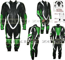 MENS 1 PIECE GREEN & BLACK MOTORBIKE / MOTORCYCLE LEATHER SUIT / JACKET