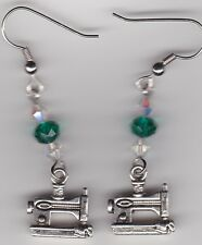 Sewing Machine Earrings-Tibetan Silver with Green & Clear Swarovski Beads