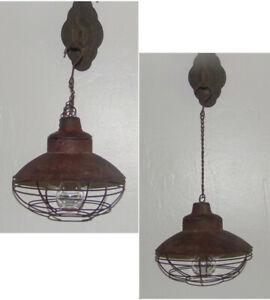 Asher LED Hanging Lamp Lantern Light w Bulb Rustic Metal Pendant Lantern New