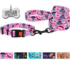 Personalized Dog Collar Leash Lead Set Engraved Floral Dog Collars for Girls S L