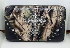 Womens Black Mossy Oak Cross Leatherette Flat Thick Wallet