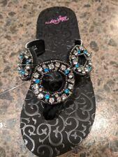 Blazin Roxx Womens Liz Flip Flops Black with Blue & Clear Crystal
