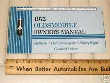 1972 OLDSMOBILE 88 98 Custom Cruiser Car Owner's Manual